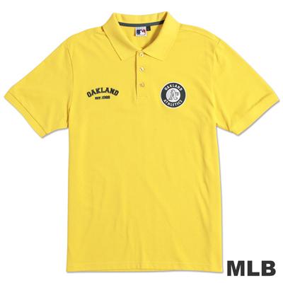 MLB-奧克蘭運動家隊貼布繡隊徽POLO衫-黃(男)