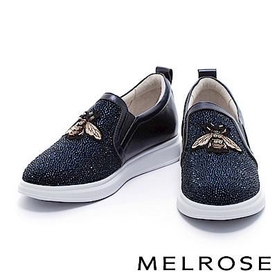 休閒鞋 MELROSE 復古奢華異材質拼接小蜜蜂點綴排鑽厚底休閒鞋-藍