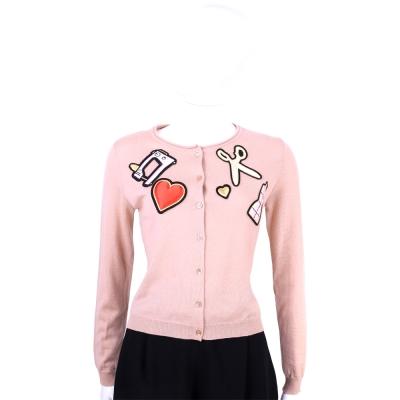 MOSCHINO 粉色裁縫拼貼設計純羊毛針織外套