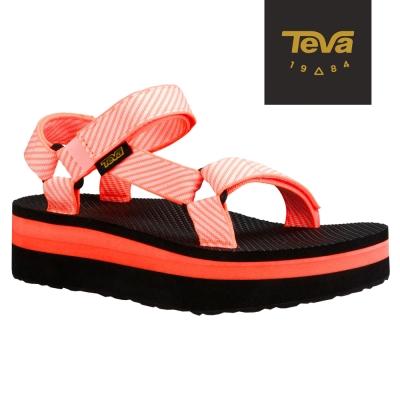 TEVA 美國-女 Flatform Universal 織帶厚底涼鞋 (條紋粉)