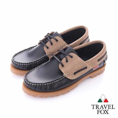 Travel Fox (男) - 樂活 全牛皮雙色帆船鞋 - 黑棕