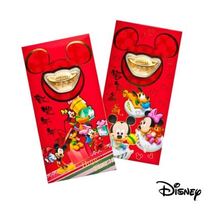 Disney迪士尼系列金飾-黃金元寶紅包袋-闔家歡樂+歡樂夢境款