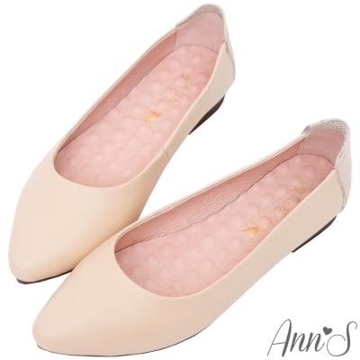 Ann'S溫柔白皮書-頂級小牛皮平底尖頭鞋-杏