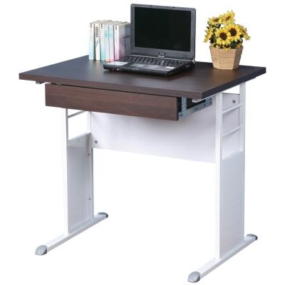 Homelike 巧思辦公桌 亮白系列-胡桃加厚桌面80cm(附抽屜)
