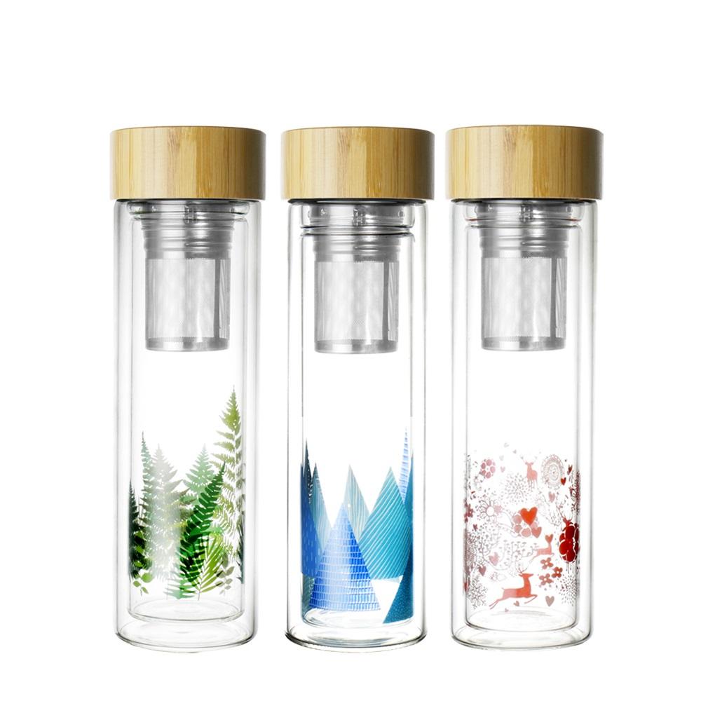 AURA艾樂 雙層耐熱濾茶玻璃瓶400ML*2入