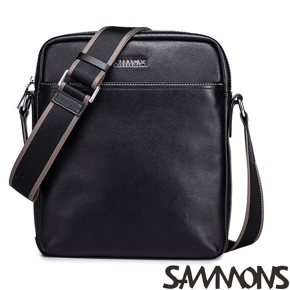 SAMMONS  真皮尼爾經典斜背包 質感黑