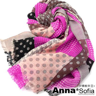 AnnaSofia 千鳥圓點拼塊 薄款純羊毛圍巾(桃黑系)