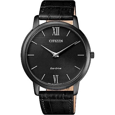 CITIZEN星辰 光動能紳士薄型手錶-黑x皮錶帶/39mm AR1135-10E