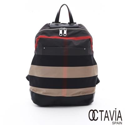 OCTAVIA 8 - 英格蘭 尼龍格紋輕量後背包 - 紅米灰