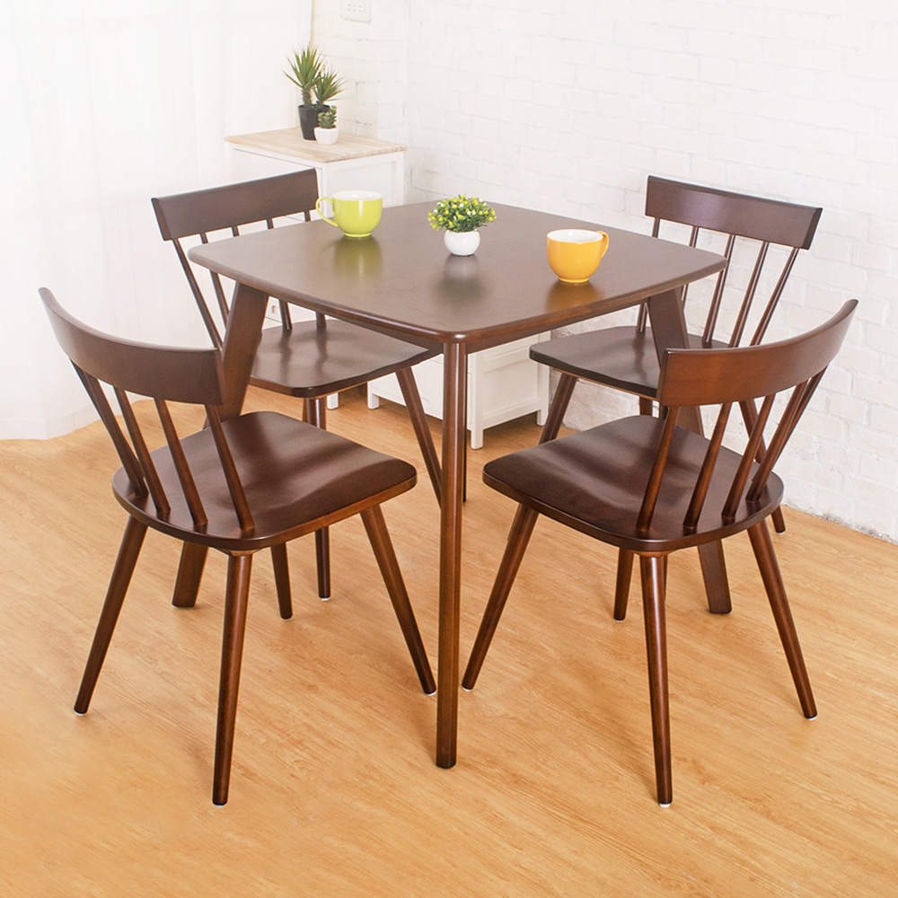 Bernice-可娜實木餐桌椅組(一桌四椅)-80x80x75cm