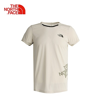 The North Face北面男款卡其色吸濕透氣休閒短袖T恤