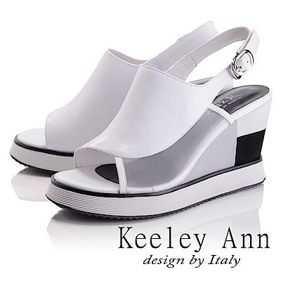 Keeley Ann 簡約美感~撞色拼接感楔形魚口涼鞋(白色-Asin系列)
