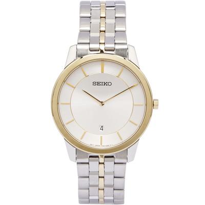 SEIKO 低調奢華藍寶石鏡面手錶(SKP382P1)-銀面x金色/44mm
