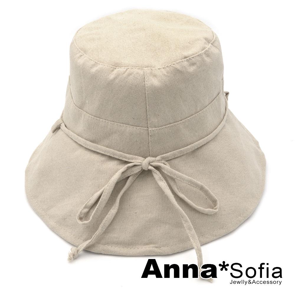 【滿額再75折】AnnaSofia 素面後綁帶結 棉麻防曬寬簷漁夫帽遮陽帽(麻本色系)