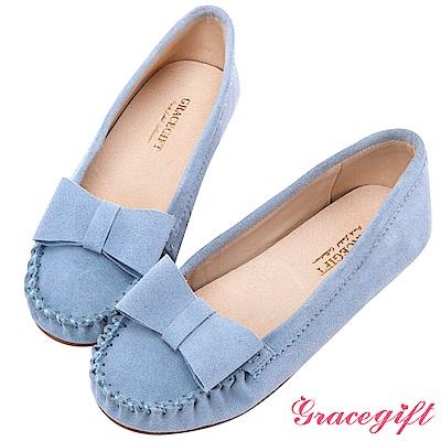 Grace gift-真皮立體蝴蝶結莫卡辛鞋 淺藍