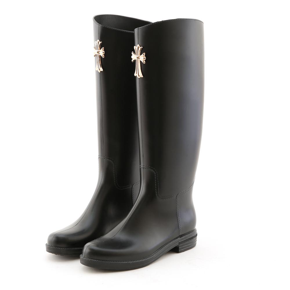 D+AF 華麗聖戰‧十字架飾釦高質感長筒雨靴*黑