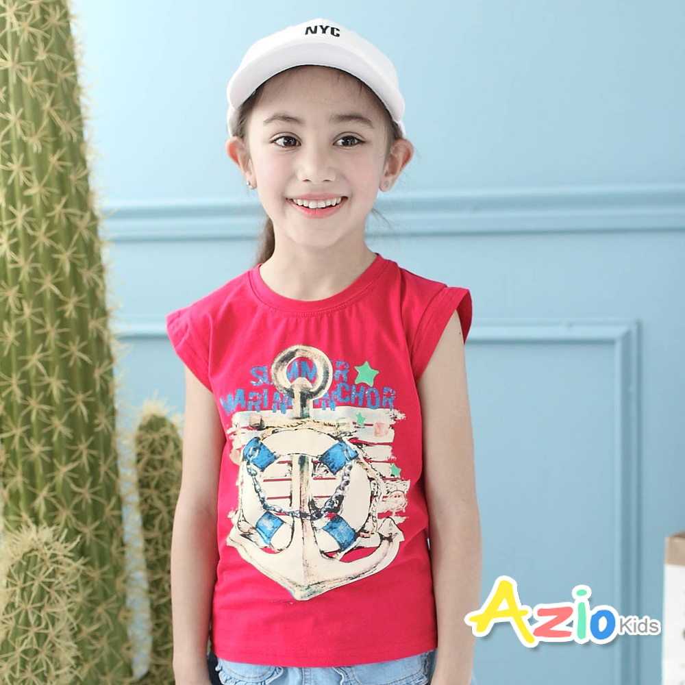 Azio Kids-背心 船錨字母印花圓領背心(紅)