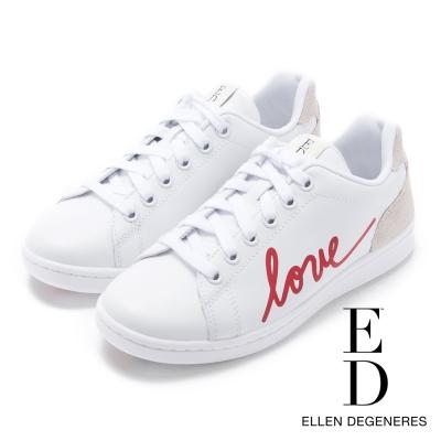 ED Ellen DeGeneres 品牌限定款LOVE真皮休閒鞋-白色