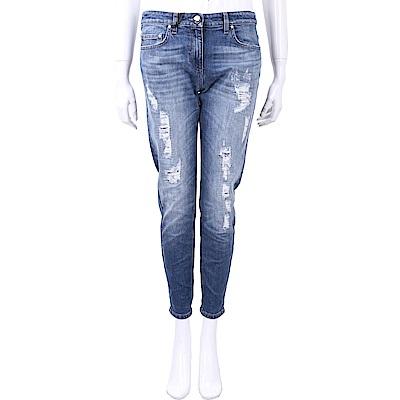 ELISABETTA FRANCHI 破損仿舊刷白微鬆感九分窄管牛仔褲