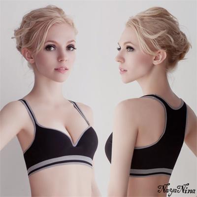 運動內衣 深V羽型胸墊無鋼圈工字背運動內衣(黑配灰邊) Naya Nina