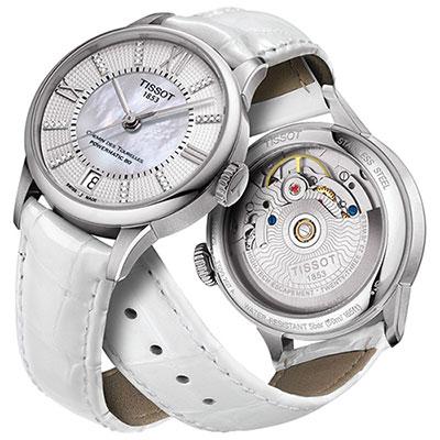 TISSOT 杜魯爾系列真鑽機械動力80腕錶-珍珠貝x白/32mm