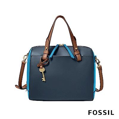 FOSSIL RACHEL 雙色真皮劍橋包-藍