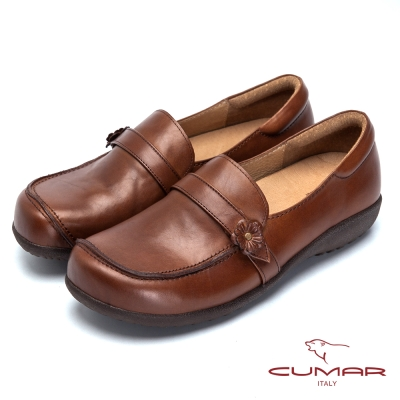 CUMAR舒適嚴選舒適真皮厚底包鞋棕