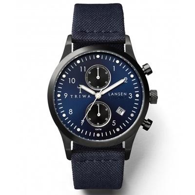 TRIWA Lansen Chrono系列Dusk-帆布拼接真皮錶帶款-38mm