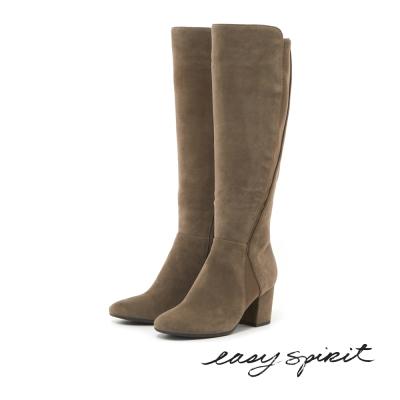 Easy Spirit--麂皮高跟長靴-溫暖駝