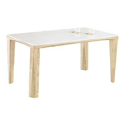 品家居 阿蜜莉4.3尺原木紋實木石面餐桌-140x80x74cm免組