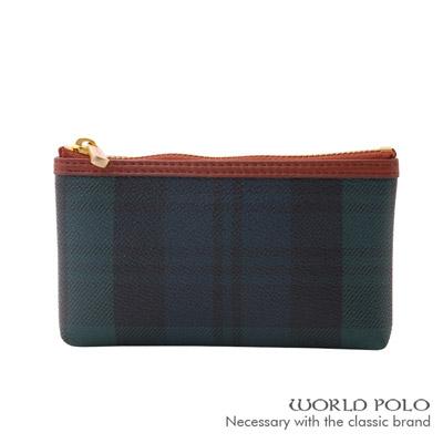 WORLD-POLO-綠格紋隨身鑰匙包