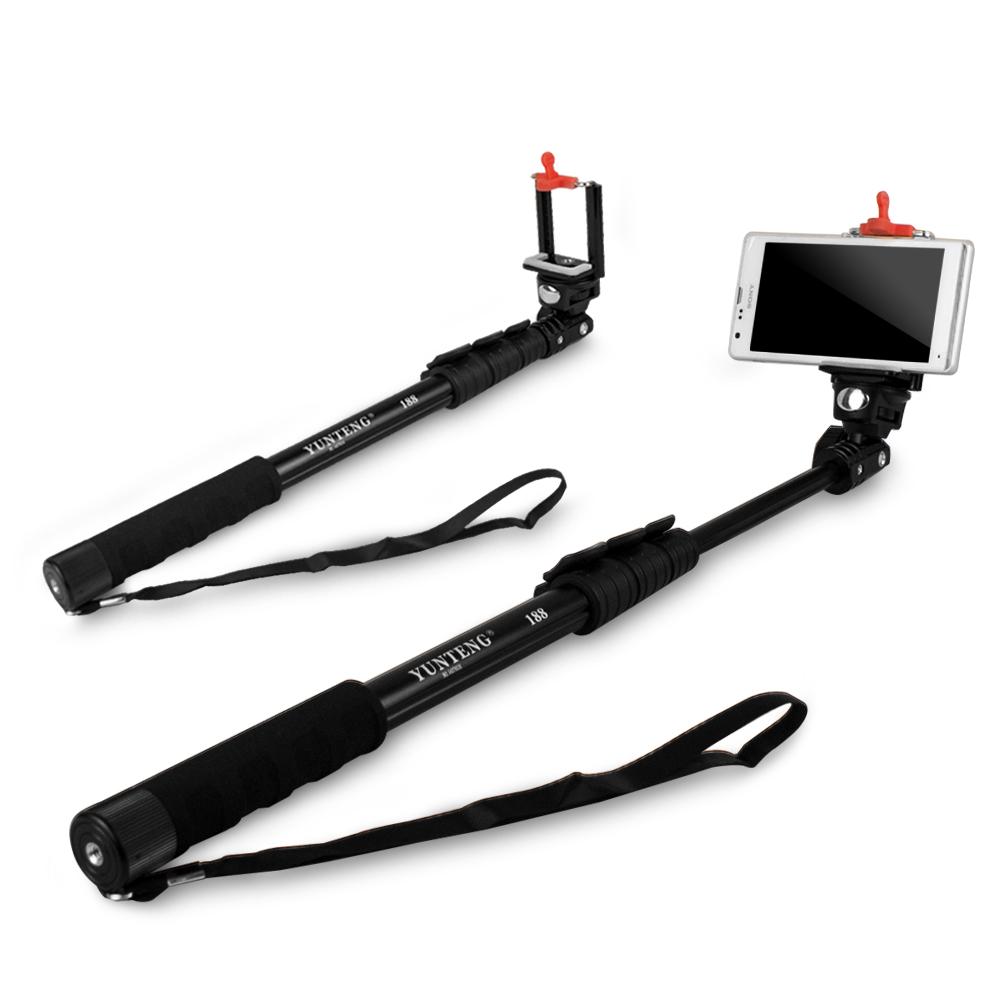 C188 數位相機/手機兩用 四節易攜式360度伸縮自拍架(扳壓關節)-黑色