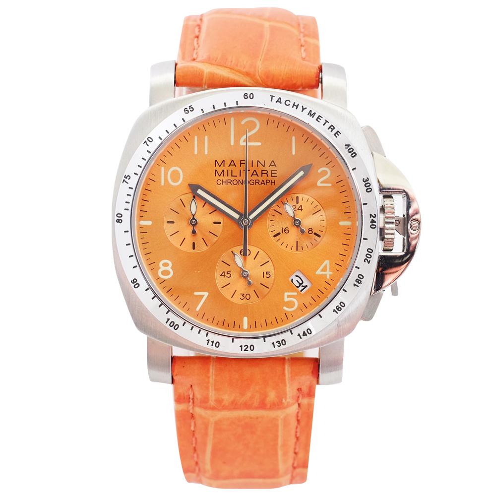 PARNIS/瑞典/軍錶/橘/玫瑰金面盤/多功能計時錶/PA3095/油壓計時機芯