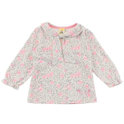 愛的世界 MYBABY 綁帶淑女領印花長袖上衣/2~3歲