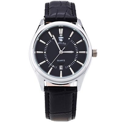 Watch-123 鉚釘鑲嵌刻度日曆精品商務手錶-黑帶黑面/40mm