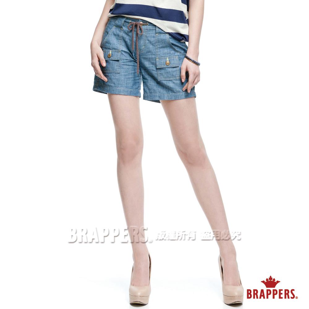 BRAPPERS 女款 Boy Friend Jeans系列-女用抽繩短褲-淺藍