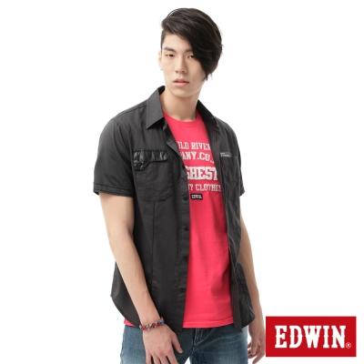 EDWIN 襯衫 都會剪接短袖襯衫-男-黑色