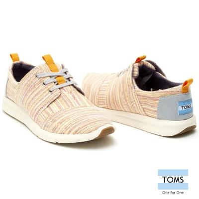 TOMS 線條織紋休閒鞋-女款(橘)