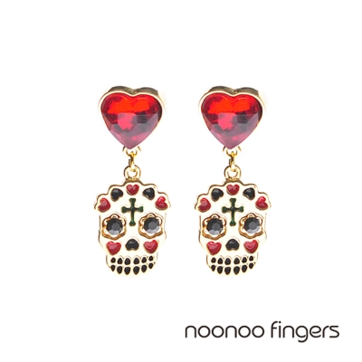 Noonoo Fingers Heart Skull Earring 愛心骷顱頭 耳環