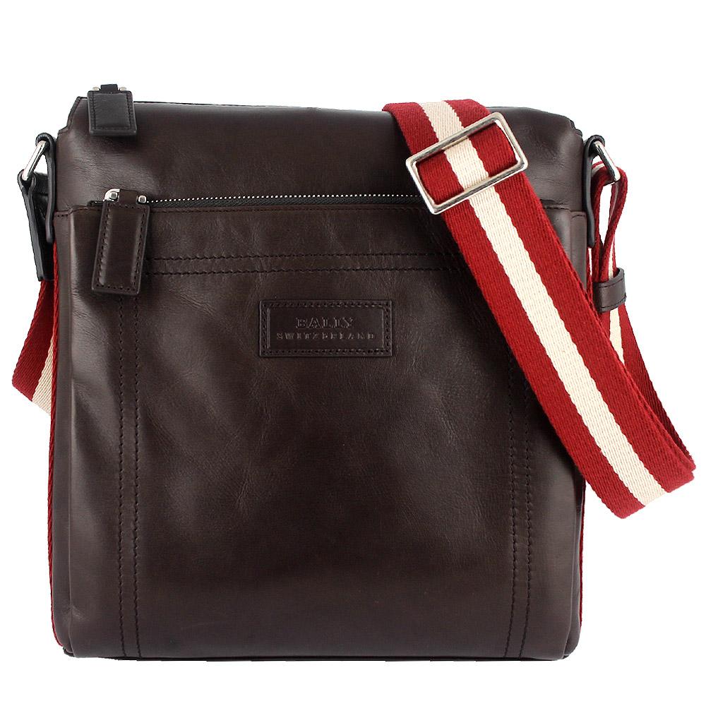 BALLY 經典條紋咖啡色真皮拉鍊長形斜背包