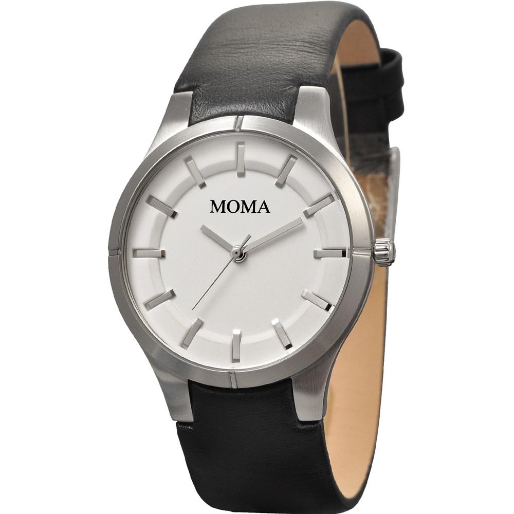 MOMA 非凡人生經典三針時尚腕錶-白/37mm