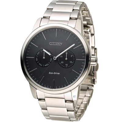 CITIZEN 星辰 光動能穩重風範時尚腕錶(AO9040-52E)-黑/44mm