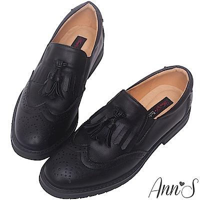 Ann'S帥氣風範-流蘇雕花素面牛津紳士鞋-黑