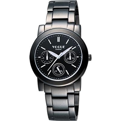VOGUE 嶄新系列日曆時尚腕錶-IP黑/38mm