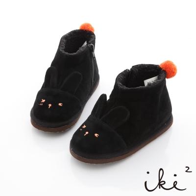 iki2童鞋-夢幻童話系列咕妮兔短筒雪靴-烏黑