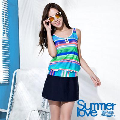 夏之戀SUMMERLOVE 彩色橫條紋長版二件式泳衣