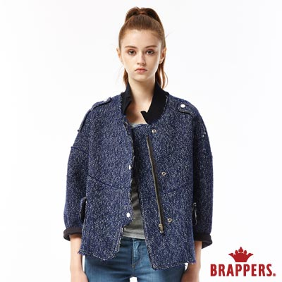BRAPPERS 女款 毛呢落肩太空棉外套-深藍