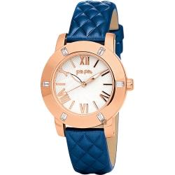 Folli Follie Donatella 璀璨水鑽羅馬亮采女錶-玫塊金框x藍/34mm
