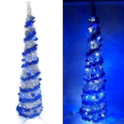 6尺(180cm)彈簧摺疊銀色哈利葉瘦型鉛筆樹聖誕樹(+LED100燈藍白光+藍系飾品)