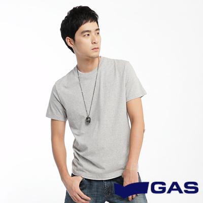 GAS-基本簡約-假雙層圓領短袖T恤-灰-男款